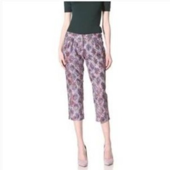 Gregory Parkinson Floral Lace Pleated Cropped Pant